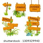 cartoon game panels in jungle... | Shutterstock . vector #1309329940