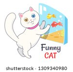 funny white cat looking at... | Shutterstock . vector #1309340980
