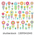 flowers collection  poster with ... | Shutterstock . vector #1309341043