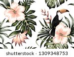 Tropical Vintage Toucan Parrot...