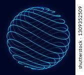 sphere with twist lines.... | Shutterstock . vector #1309352509
