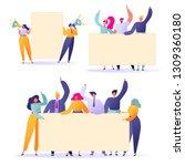 flat people holding in hands... | Shutterstock .eps vector #1309360180