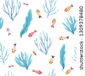 seamless watercolor pattern of... | Shutterstock . vector #1309378480