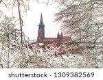 winter city landscape in... | Shutterstock . vector #1309382569