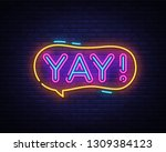 yay neon sign vector. yay pop... | Shutterstock .eps vector #1309384123