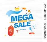 mega sale 50  banner template... | Shutterstock .eps vector #1309384969