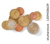 euro coins isolated on white... | Shutterstock . vector #1309408639