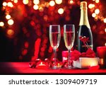 valentine's day romantic dinner.... | Shutterstock . vector #1309409719