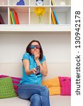 scared woman in stereo glasses... | Shutterstock . vector #130942178