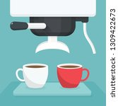coffee maker with white and red ... | Shutterstock .eps vector #1309422673