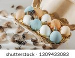 many colorful organic eggs in... | Shutterstock . vector #1309433083