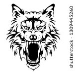 wolf head tribal tattoo | Shutterstock .eps vector #1309445260