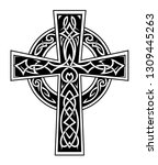 celtic style cross tattoo with... | Shutterstock .eps vector #1309445263