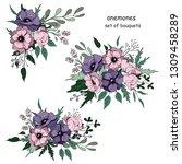 bouquets set with anemones... | Shutterstock .eps vector #1309458289