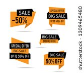 set of sale banners. yellow... | Shutterstock .eps vector #1309465480