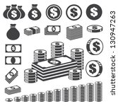 Money And Coin Icon Set...