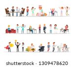 set of business people working... | Shutterstock .eps vector #1309478620