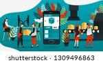 flat cartoon character. vector... | Shutterstock .eps vector #1309496863