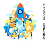 the launch of a new business in ...   Shutterstock .eps vector #1309500376