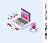people analyzing statistics.... | Shutterstock .eps vector #1309528990