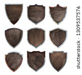 wooden and metal shield... | Shutterstock . vector #1309537576