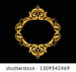 gold baroque ornament frame     Shutterstock .eps vector #1309542469