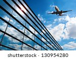 glass curtain wall and aircraft ... | Shutterstock . vector #130954280