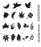 Black And White Nature Icon Set