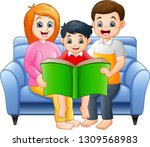 cartoon happy family reading a... | Shutterstock .eps vector #1309568983