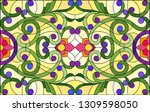 illustration in stained glass... | Shutterstock .eps vector #1309598050