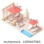 vector isometric backyard patio ... | Shutterstock .eps vector #1309607083
