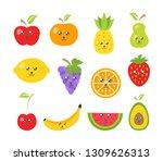 cute fruits in trendy kawaii... | Shutterstock .eps vector #1309626313