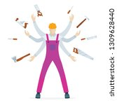 young worker with six hands and ... | Shutterstock .eps vector #1309628440