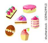 set of cute cartoon sweet cakes ... | Shutterstock .eps vector #1309629913