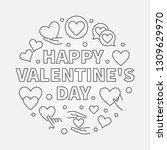 happy valentine's day round...   Shutterstock .eps vector #1309629970
