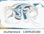 white  blue and gold marbling... | Shutterstock . vector #1309630180