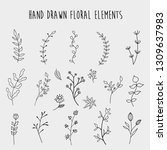 hand drawn floral element vector | Shutterstock .eps vector #1309637983