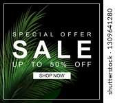 sale banner with palm leaves.... | Shutterstock .eps vector #1309641280