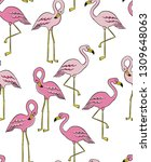 seamless pattern with flamingos ... | Shutterstock .eps vector #1309648063