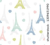 seamless pattern paris. french... | Shutterstock .eps vector #1309651990