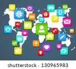 background  with social media... | Shutterstock .eps vector #130965983