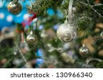 decorated christmas tree on... | Shutterstock . vector #130966340