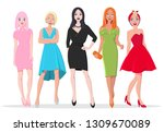 beautiful asian with pink hair  ... | Shutterstock .eps vector #1309670089
