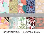 collection of seamless patterns.... | Shutterstock .eps vector #1309671139