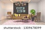 interior of the living room. 3d ... | Shutterstock . vector #1309678099