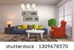 interior of the living room. 3d ... | Shutterstock . vector #1309678570
