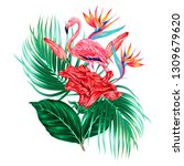 pink flamingo  tropical flowers ... | Shutterstock .eps vector #1309679620
