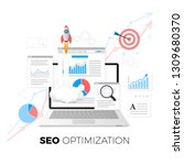 seo optimization concept. data... | Shutterstock .eps vector #1309680370