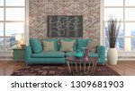 interior of the living room. 3d ... | Shutterstock . vector #1309681903