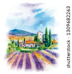 landscape with a village and a... | Shutterstock . vector #1309682263